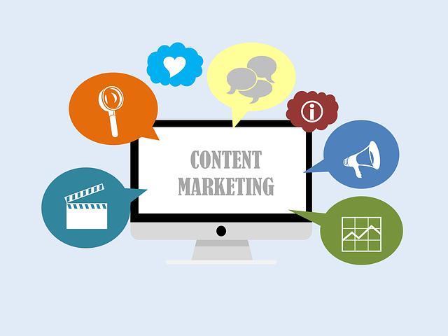 obsah marketingové webové stránky v ikonách
